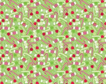 Green Red Candy Christmas Fabric - Riley Blake - C3975