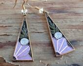 Vintage Enameled Earrings Purple Flower Nautilus Leaves Antique Brass