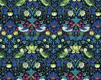 Liberty Fabric Strawberry Thief J Blue Green Pink Tana Lawn One Yard- * PRE-ORDER *