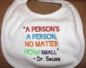 Embroidered Bib for Baby-Dr Seuss-A Person's a Person...-WHITE BIB
