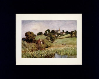 Scenic 1908 Isle of Wight - Newchurch - Mother Church of Ryde Antique Book Illustration