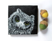 Miniature Owl Painting Animal Totem Art Mini 3x3 Canvas Fine Art Bird Painting with Easel Black and White Wildlife Under 50 Stocking Stuffer