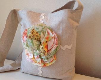 Canvas Tote/ Ruffle Flower/ handbag/SALE