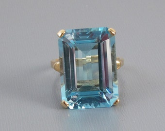 Massive vintage estate 14k gold 18 carat blue topaz dinner cocktail ring STATEMENT