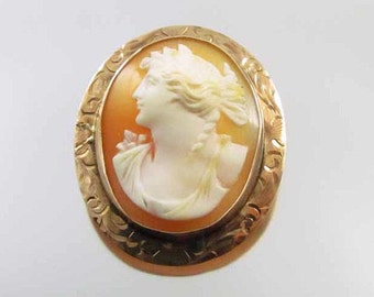 Antique Edwardian 10k rose gold  cameo pin brooch pendant signed Keller & Co