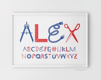 Construction Tools Theme Boys' Name Art Print, baby boy nursery art, nursery art boy, new baby boy gift,