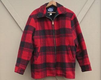 vintage Woolrich Red Plaid Woolen Field Coat / Outdoorsman Field Coat