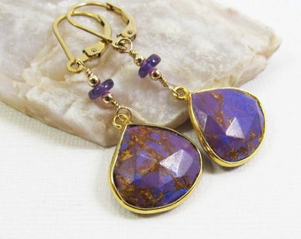 Amethyst and Copper Turquoise Gemstone . 14k Gold and Vermeil Dangle Drop Earrings . Marbled Grape Purple, Copper . E14064