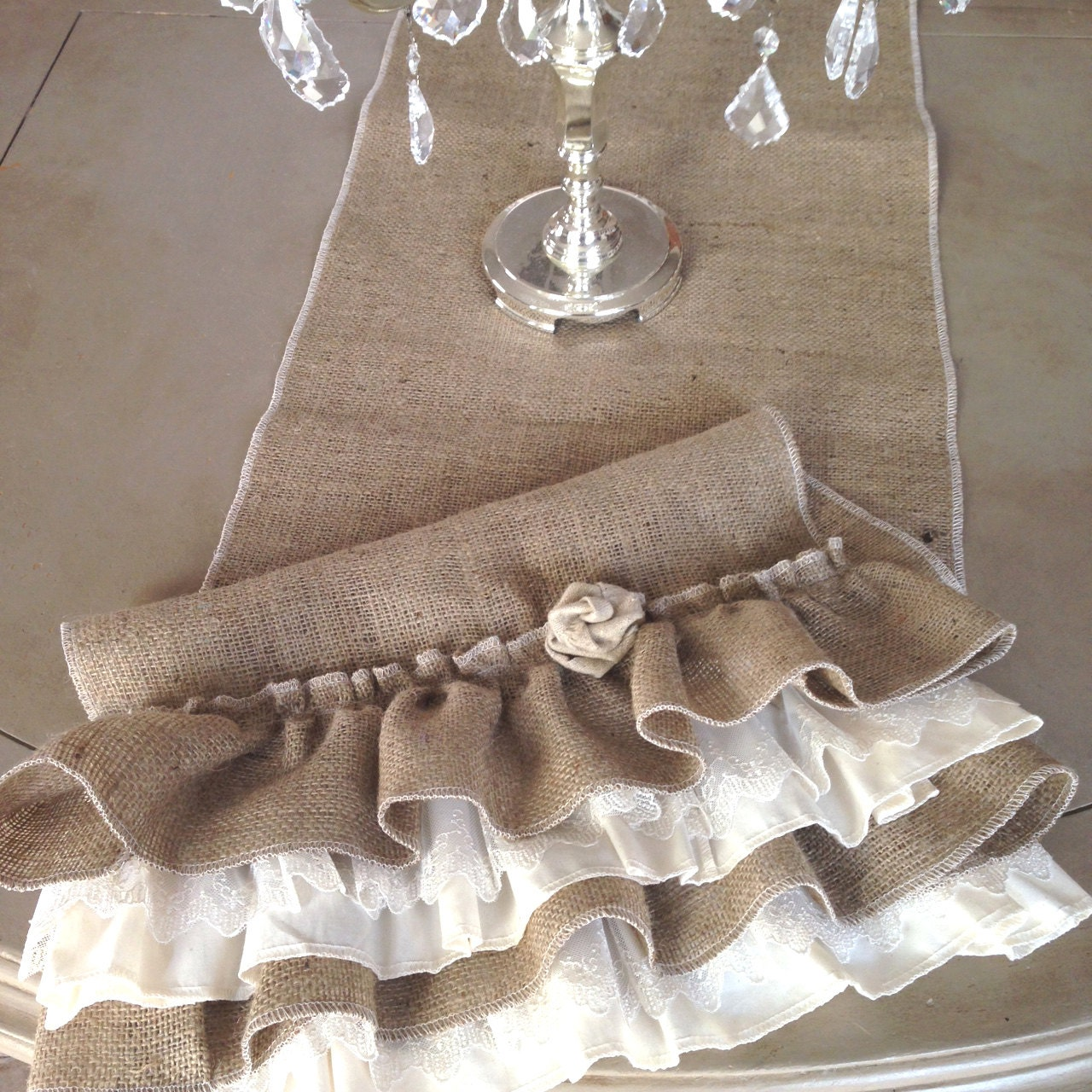 Burlap Ruffled Table Runner with Lace and Fabric Flower