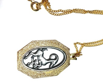 Aries the Ram Astrology Pendant Abstract Vintage Necklace