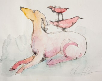 Watercolor, Dog With Red Birds, Original Illustration by Clair Hartmann