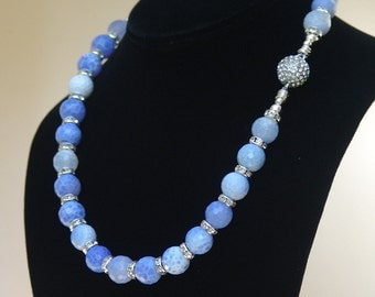 Fire Blue Agate Necklace with Channel Set Crystals and Disco Ball Magnetic Clasp