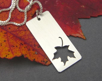 Maple Leaf Pendant Handmade In Sterling Silver