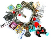 Portugal Antique Azulejo Tile CHARM BRACELET - Personalized - You Choose All Pieces!!  7 Tiles, 7 Charms, Beads and Antique Coin - OOAK