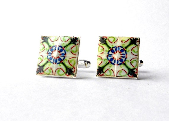 Portugal Tile Antique Replica CUFFLINS, green and blue (see photos of actual facade) 17mm