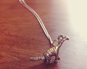 Brachiosaurus Dinosaur Necklace, .999 Fine Sterling Silver Plated Charm Necklace, Nickel Free Jewelry with Free US Shipping.