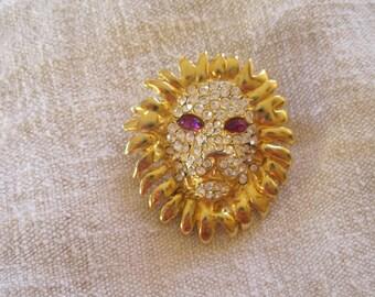 Rhinestone Lion's Head Brooch Pin Vintage