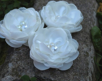 White - Ivory - Cream  Colored Flower Hair Pins - Brooches  Set of 3
