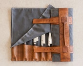 waxed knife roll by fullgive in grey and java