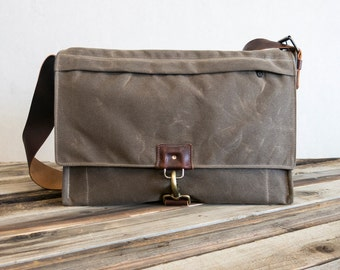 Waxed canvas and oiled leather satchel