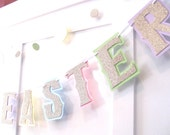 HAPPY EASTER Banner - Gold Glitter on Pastel Green, Blue, Purple, Yellow, and Pink