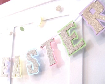 HAPPY EASTER Banner, Easter Decor, Easter Mantel Decor, Pastel Easter Banner, Gold Easter Decor, Easter Garland, Easter Wall Decor