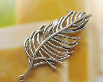 2 pcs 68mm - Large antique silver plated leaf charm (CM032)