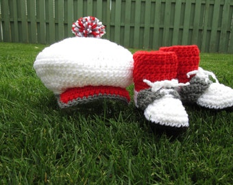 Baby Golf Shoe Booties Hat Red Socks