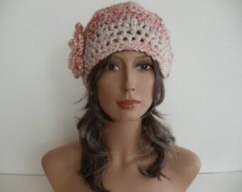 Pink Tweed Crocheted Beret