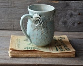 Stoneware Tea Cup  with roses Handmade Ceramics- 2nd design  - Stoneware  - light blue - mug
