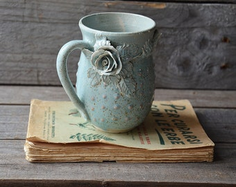 Stoneware Tea Cup  with roses Handmade Ceramics- 2nd design  - Stoneware  - light blue - mug