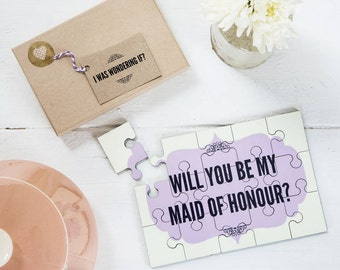 Will you be my Maid of Honor Jigsaw - Personalised Will you be my Maid of Honour Gift, Maid of Honor Proposal, Maid of Honor Gift