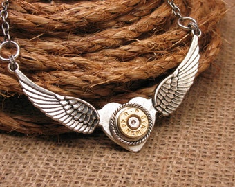 """Bullet Jewelry - """"Love to See the Bullets Fly"""" Bullet Casing Winged Heart Pendant Necklace - Bullet Designs - Gun Jewelry"""