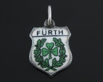 Vintage Furth Sterling Silver  Green Enamel Coat of Arms Travel Shield Charm