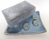 Ceramic Soap Dish Freckled Blueberry Blue Handmade Pottery