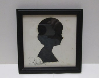 Vintage Silhouette Artist Signed Hand Cut Original Teen Womens Portrait Profile Black White Framed Wall Hanging Silhouette Shade