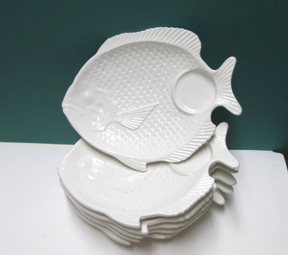 Fish plate set 6 seafood serving dishes fish by for Fish shaped plates