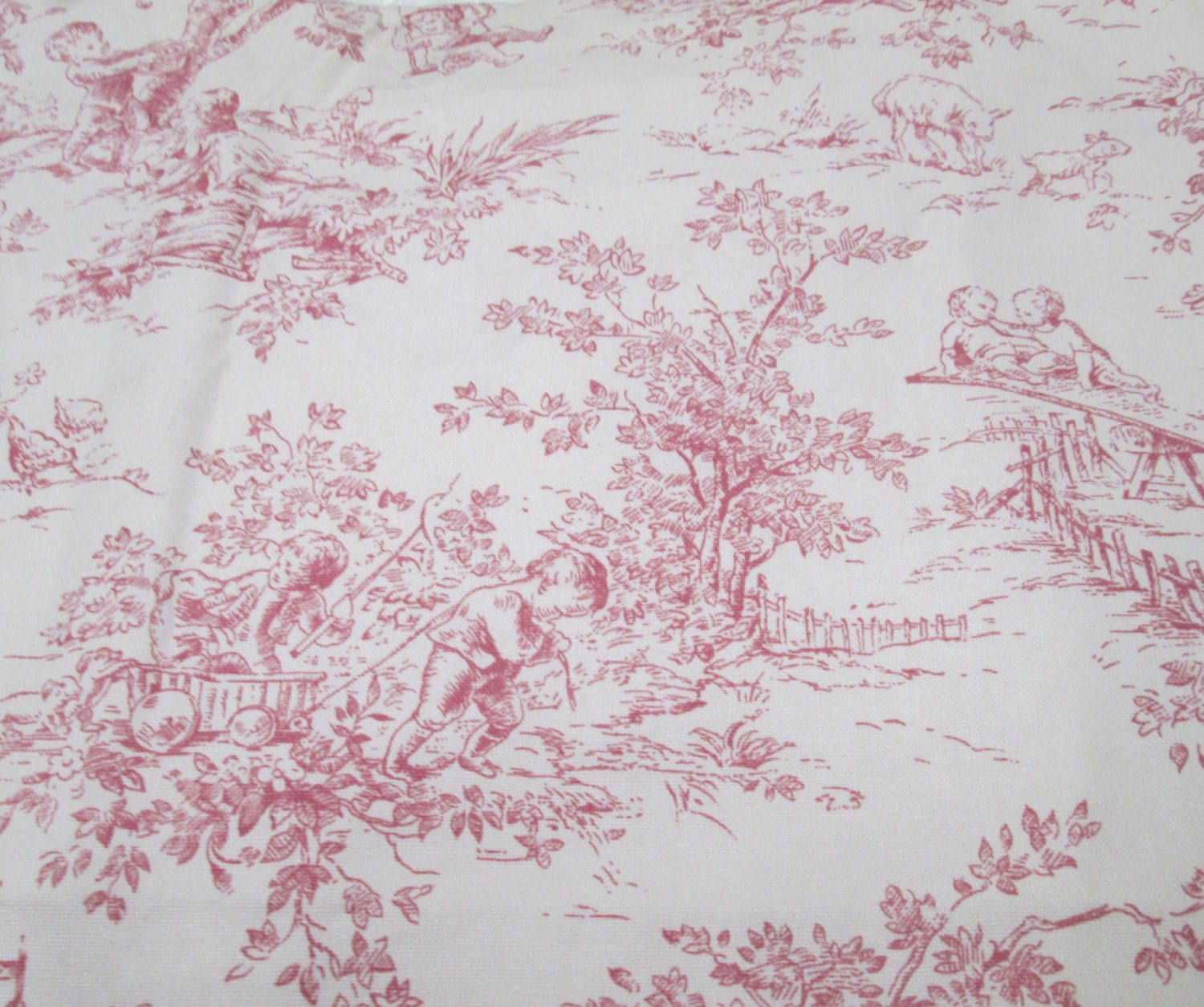 french toile fabric 1 yd home decor childrens nursery. Black Bedroom Furniture Sets. Home Design Ideas