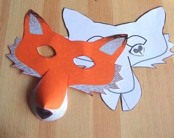 Fox Mask - Printable Craft Kit - Kid's Party Activity - DIY costume