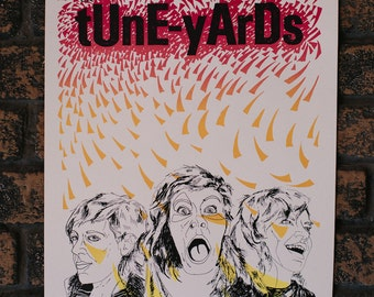 tUnE-yArDs silk screen gig poster - Buffalo NY 2012