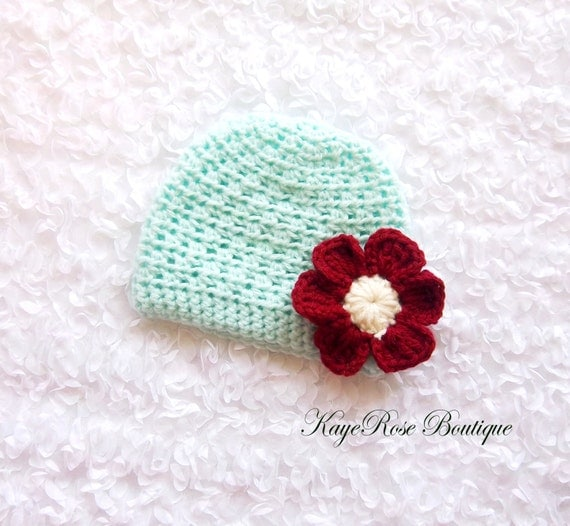 Crochet Hat Pattern For 8 Month Old : Newborn to 3 Month Old Baby Girl Crochet Flower Hat by ...