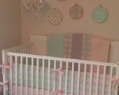 SALE Crib Bedding Butterbeans Exclusive Peach Mint and Gray Ruffled
