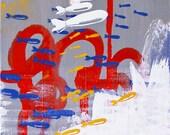 "POP ART - Original Contemporary Abstract Mixed Media Painting - Canvas - 12"" x 24"" - Daniel Tacker"
