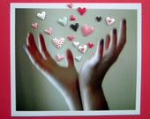 Hands and hearts valentine card, three dimensional, i love you, photo, release of hearts, tiny hearts, red and pink