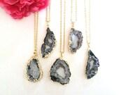 agate druzy pendant - layering necklace - druzy necklace - raw gemstone - bohemian necklace - druzy charm - boho chic jewelry - OOAK jewelry