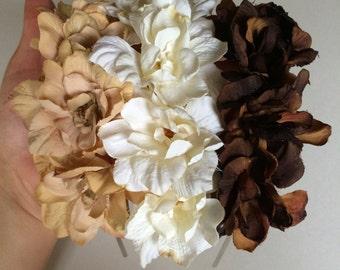brown flower headband - bohemian hair accessory - floral hair piece - coachella hair accessory - women's flower headband - floral headband