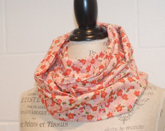 Pink Vintage Style Floral Infinity Scarf - Swiss Dot Cotton Voile Fabric - Modern Fashion Accessory - Ladies Teens Tweens