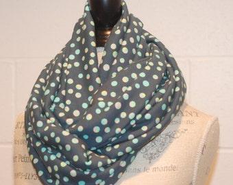 Blue & Green Modern Dots Cowl Infinity Scarf Neckwarmer Snood - Cotton Jersey Fabric - Fall Winter Fashion Accessory - Ladies Teens