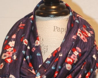 Eggplant Floral Print Infinity Scarf - Vintage style Floral jersey Fabric -Modern Fashion Accessory - Ladies Teens Tweens