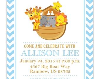Noahu0027s Ark Baby Shower Invitation, Noahu0027s Ark Invite, Baby Shower Invite,  CUSTOM 4x6